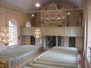 Indals kyrka, interiör, kyrkorummet, vy mot läktaren från predikstolen.