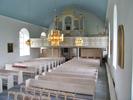 Sköns kyrka, interiör, kyrkorummet, vy mot läktaren från predikstolen.